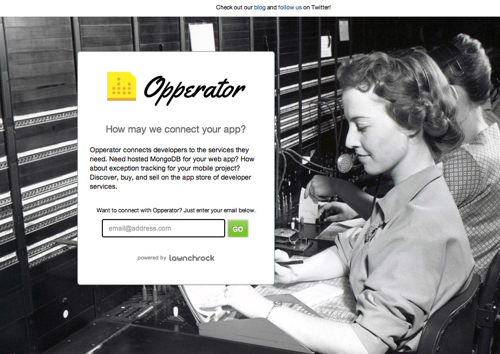 Opperator Launchrock landing page